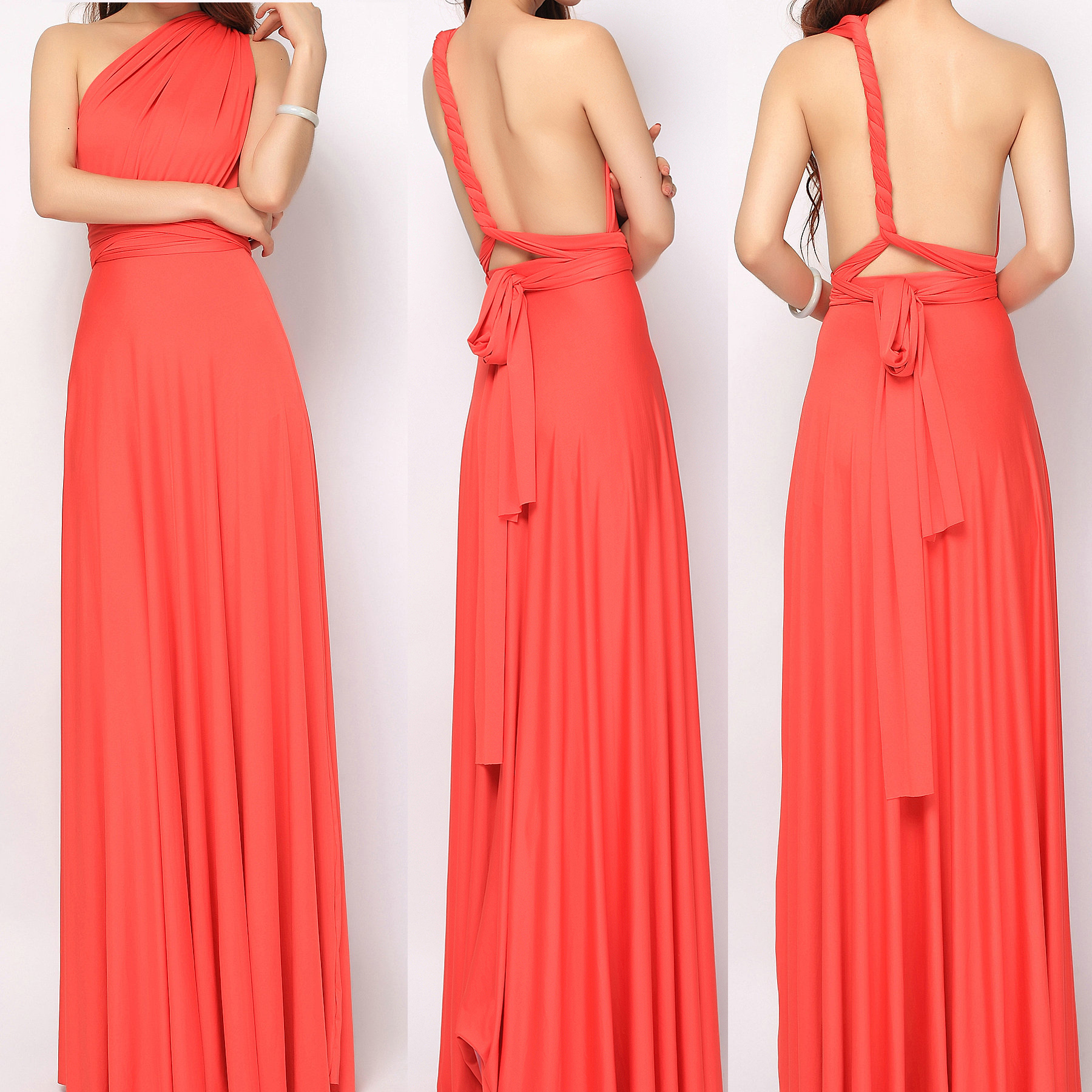 Bridesmaid dress tinnainfinitydress 2 coral maxi ombrellifo Choice Image